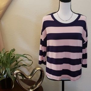 Charlotte Russe pink and blue 3/4 sleeve top